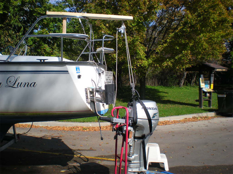 Precision 23 outboard motor hoist for Outboard motor lifting strap